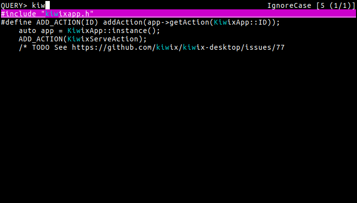 peco performing a search on Kiwix source code.