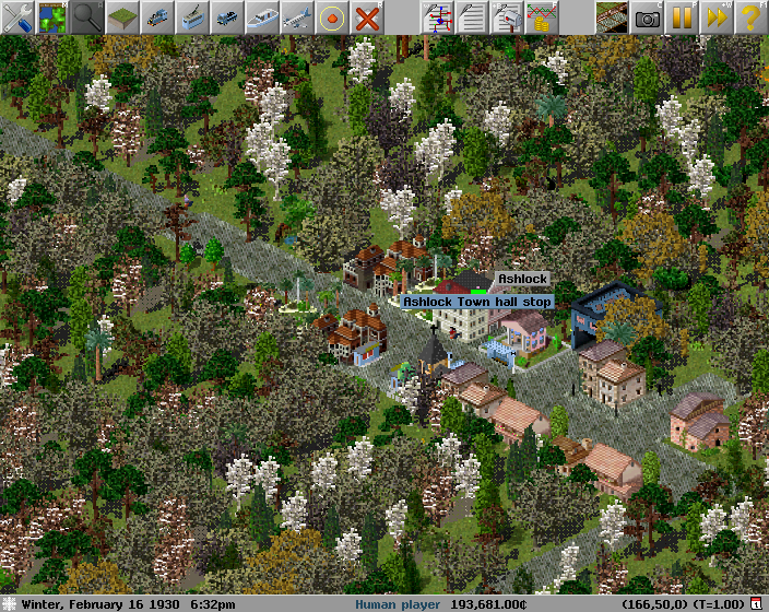 A small town with a bus stop and garage in Simutrans.