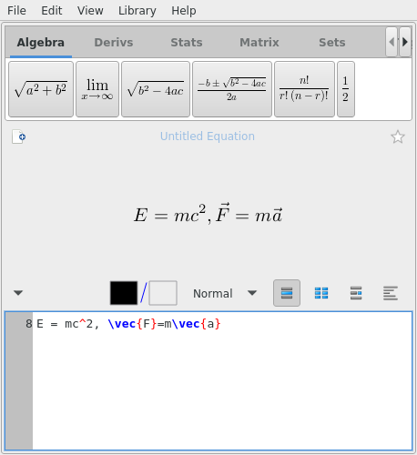 Two equations being edited in EqualX.