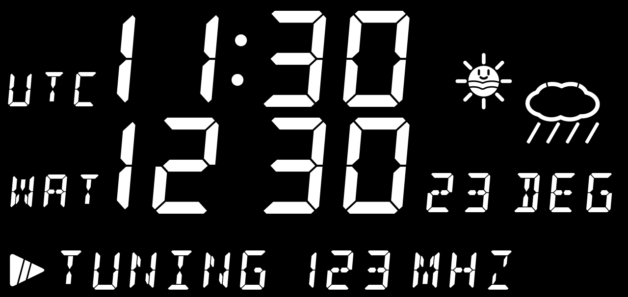 An example clock/radio panel with weather indicators using white face DSEG fonts on a black background.