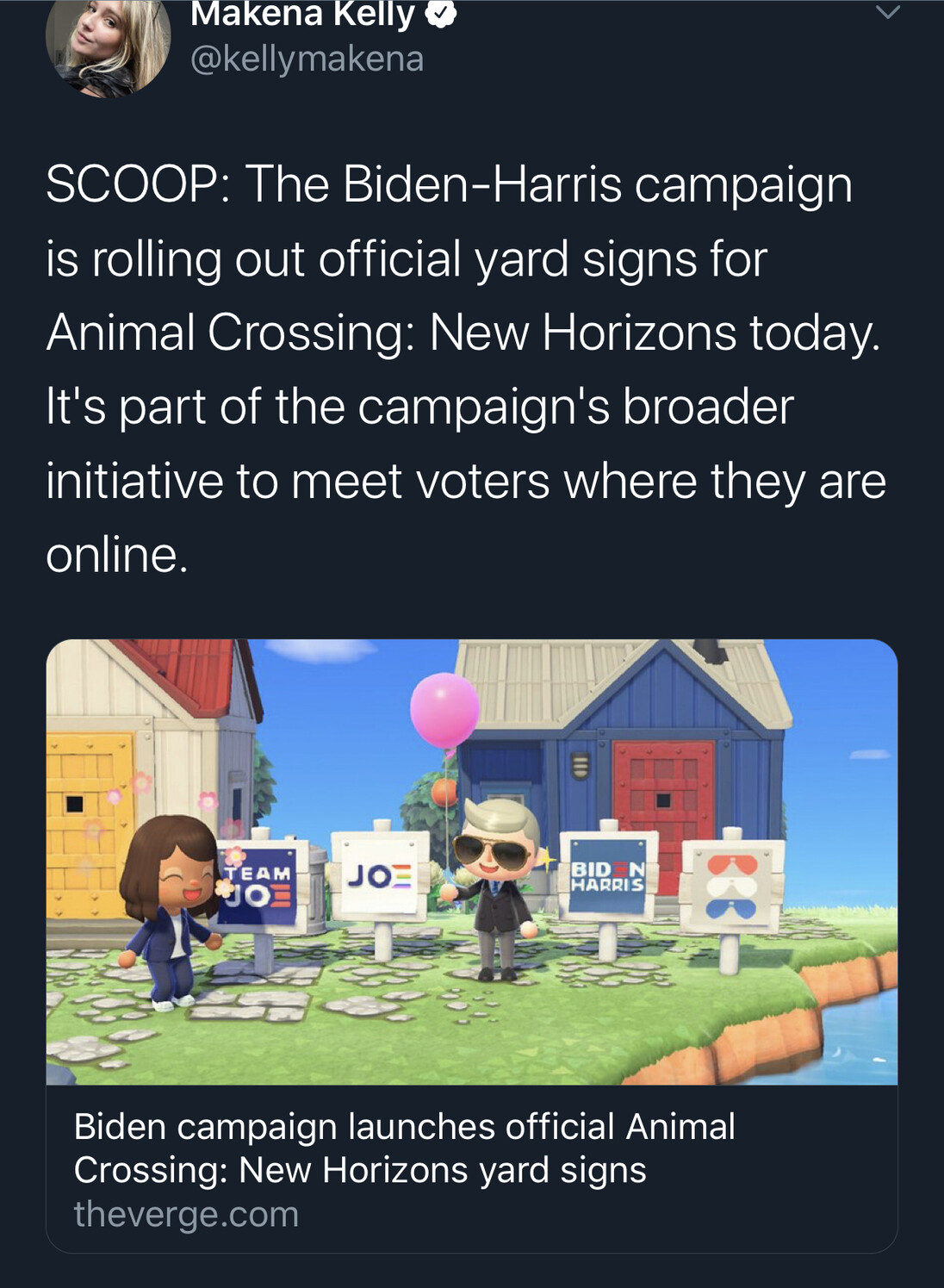 SCOOP: The Biden-Harris campaign is rolling out official yard signs for Animal Crossing: New Horizons today. It's part of the campaign's broader initiative to meet voters where they are online.