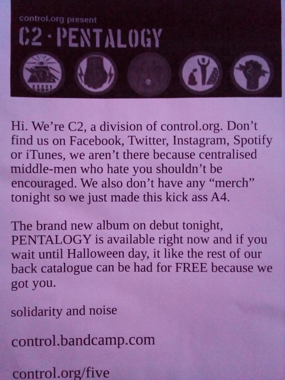 C2 does not corporate webs...Concert flier...#unite