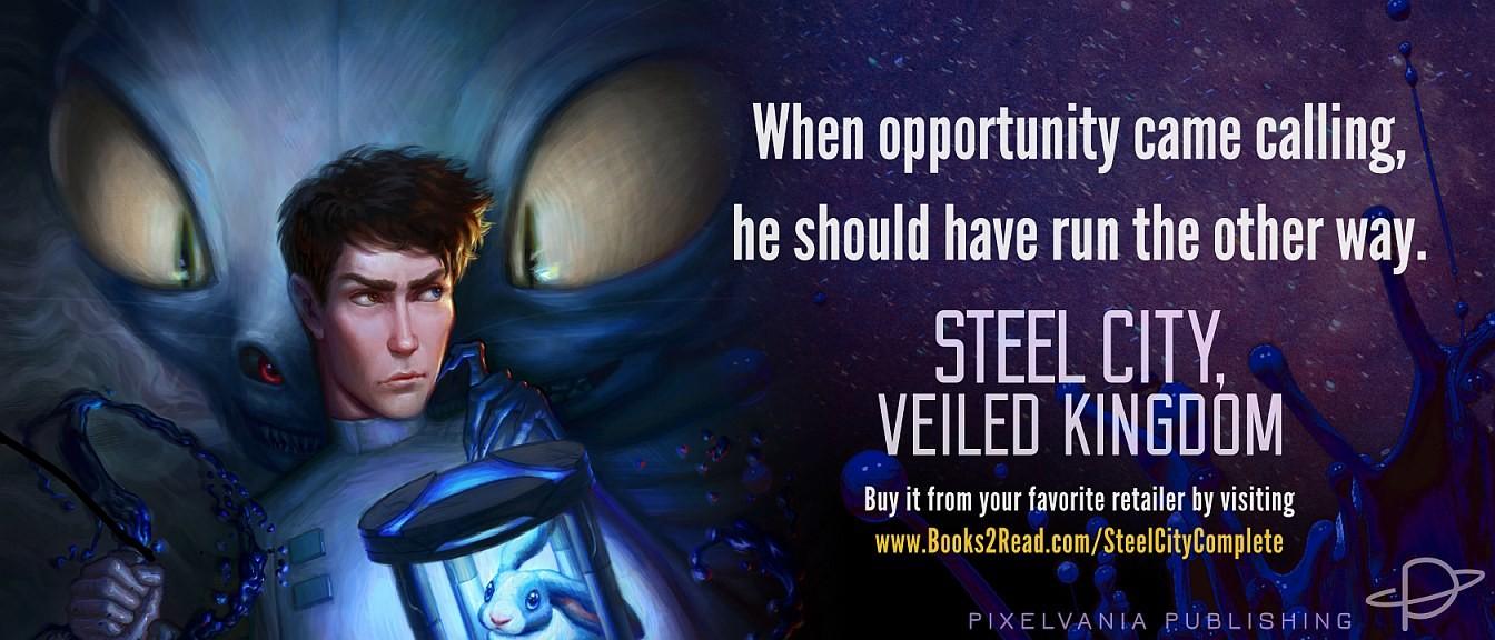 Promo image for novel STEEL CITY, VEILED KINGDOM. Artwork by Katie Payne.