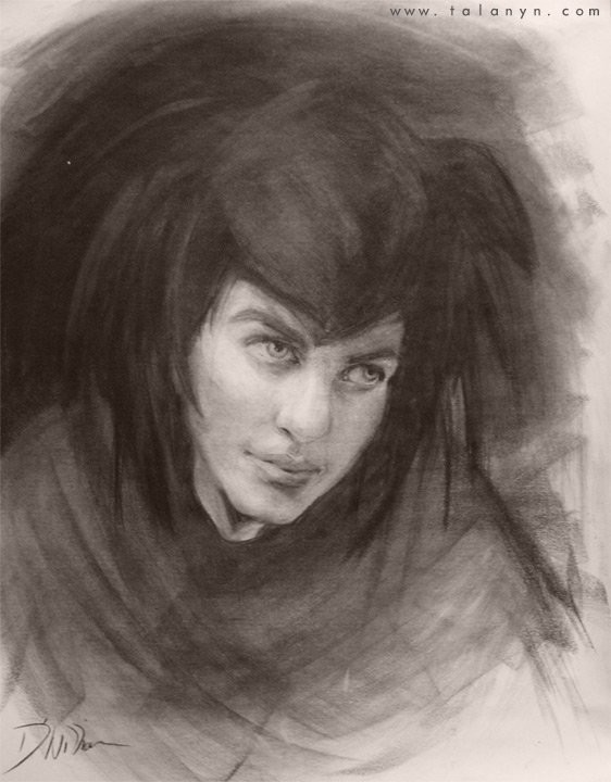 Charcoal portrait of the Queen, from the novel STEEL CITY, VEILED KINGDOM.