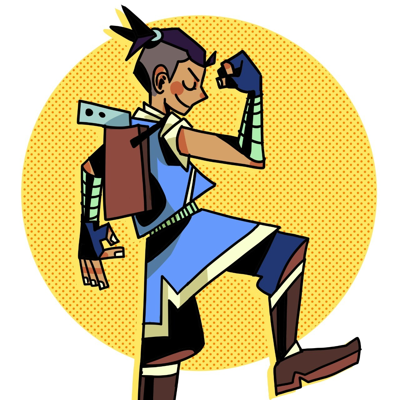 sokka flexes one arm in the air while kicking one leg up in front of a yellow circle background. he's in profile with a smug look on his face and his eye closed.