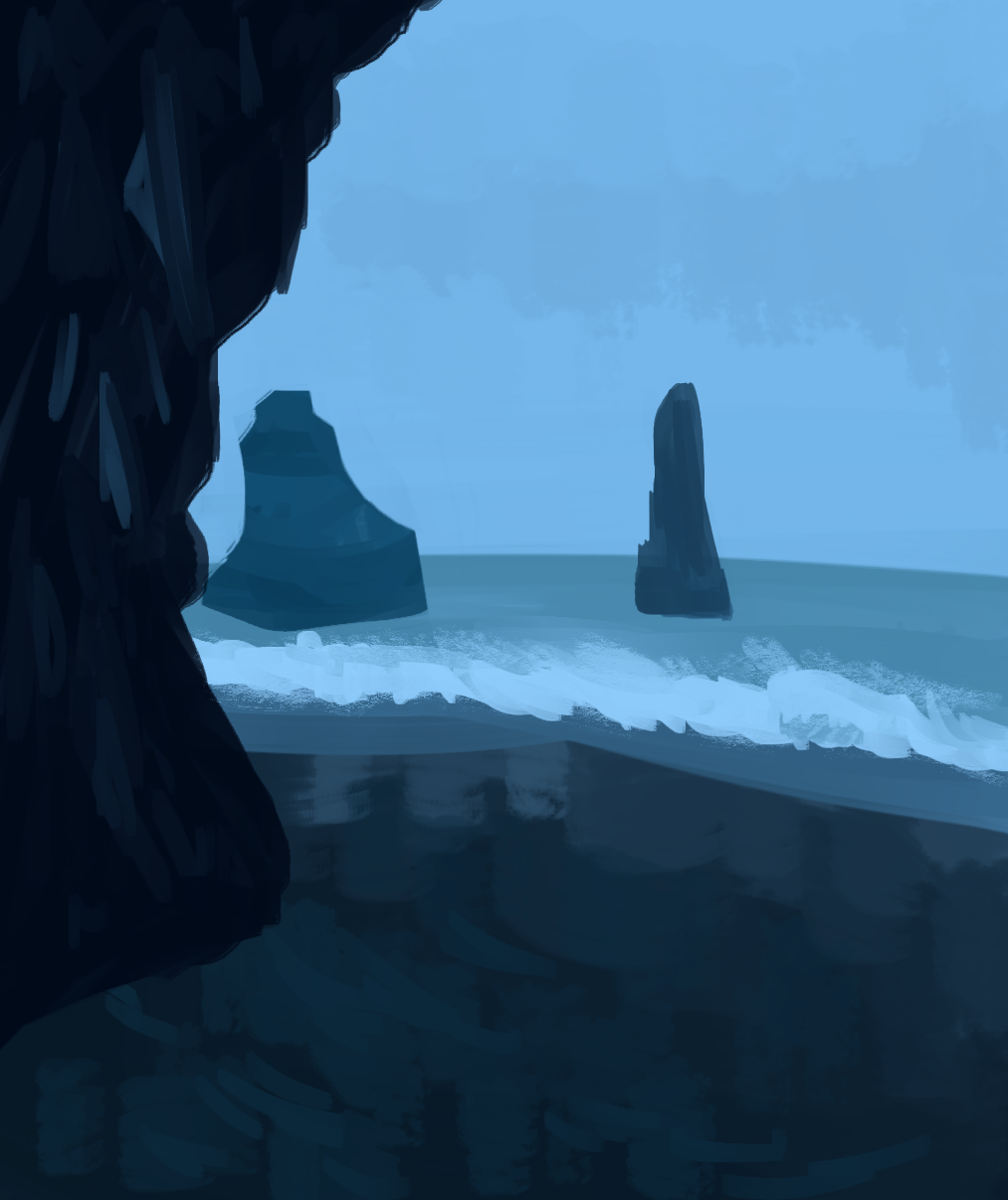 An all blue palette of a ocean shore with large rock formations in the water as well one on the beach.