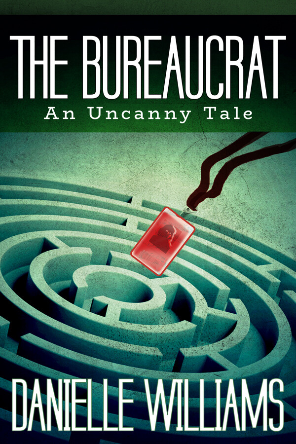 Old acid green cover for THE BUREAUCRAT; a red lanyard being tossed into a maze.