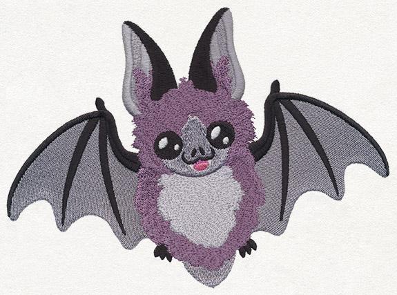 A chibi bat embroidery design.