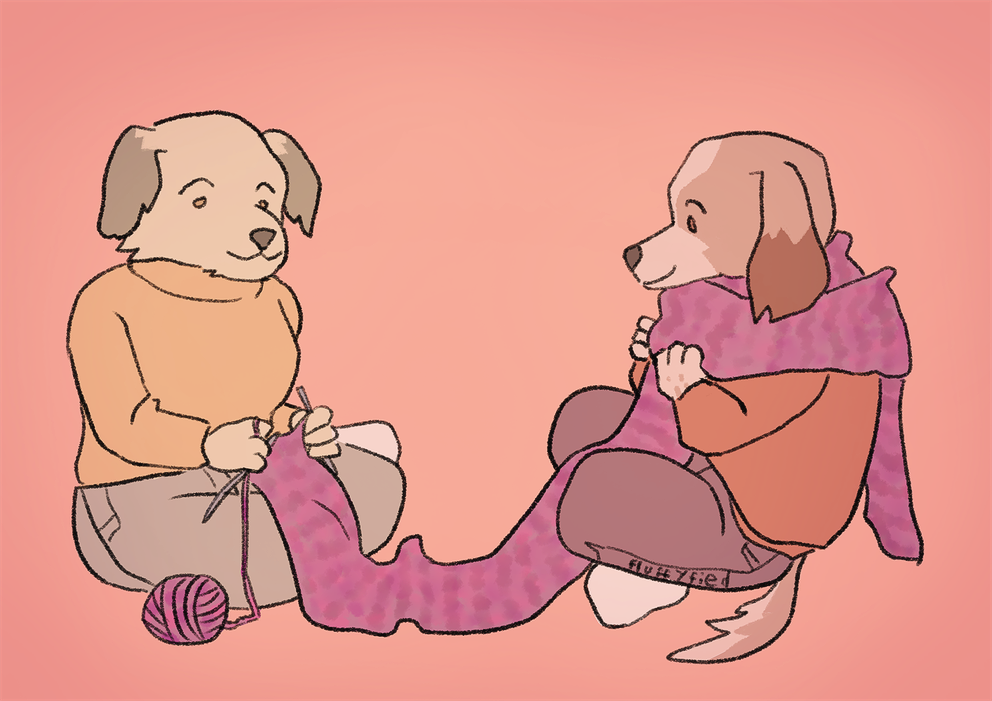 A digital drawing of my two dog furry OCs Renee and Mats sitting on the floor. Renee is knitting a long scarf and Mats is wearing parts of it.