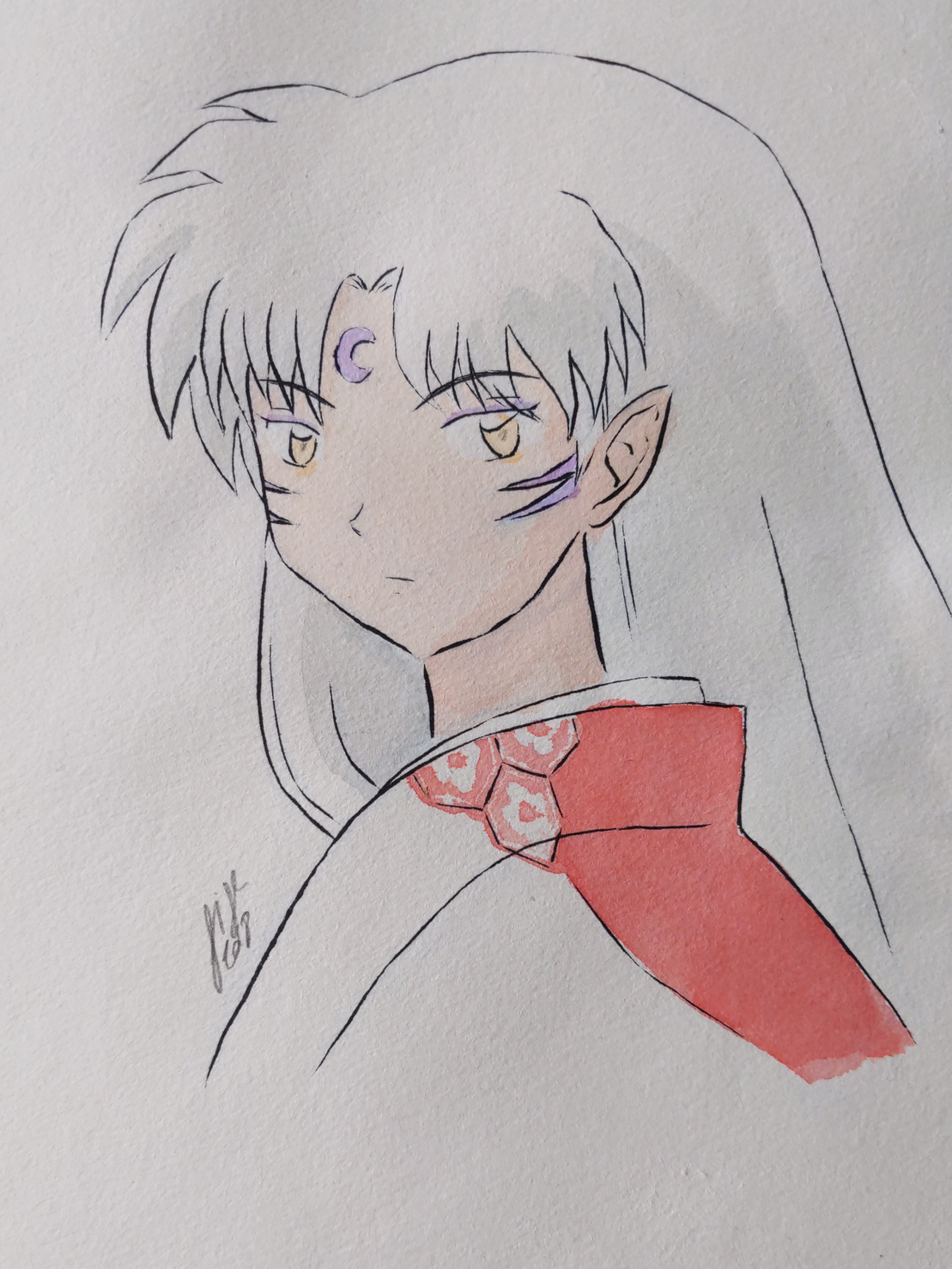traditional artwork of Sesshomaru from Inu Yasha, guy with long white hair, pointed ears, a purple half moon on his forehead and two purple stripes on his cheek