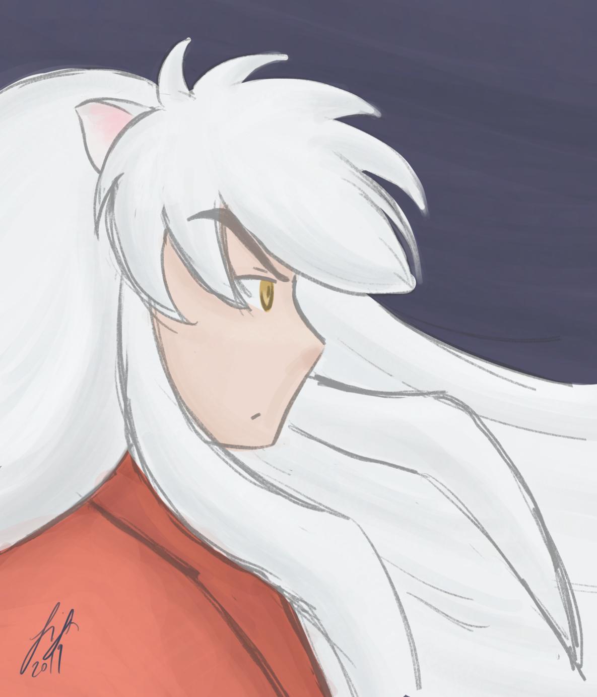 digital artwork, Inu Yasha, guy with long nearly white hair, yellow eyes and dog ears