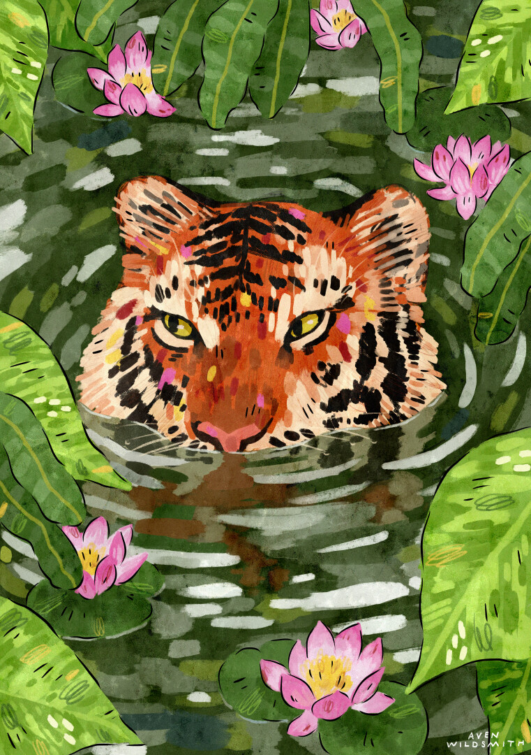 A painting of a tiger with their head partially above water, surrounded by lotus flowers and large leaves.