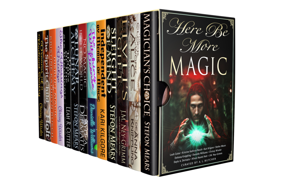 The HERE BE MORE MAGIC ebook bundle, envisioned as a physical box set.