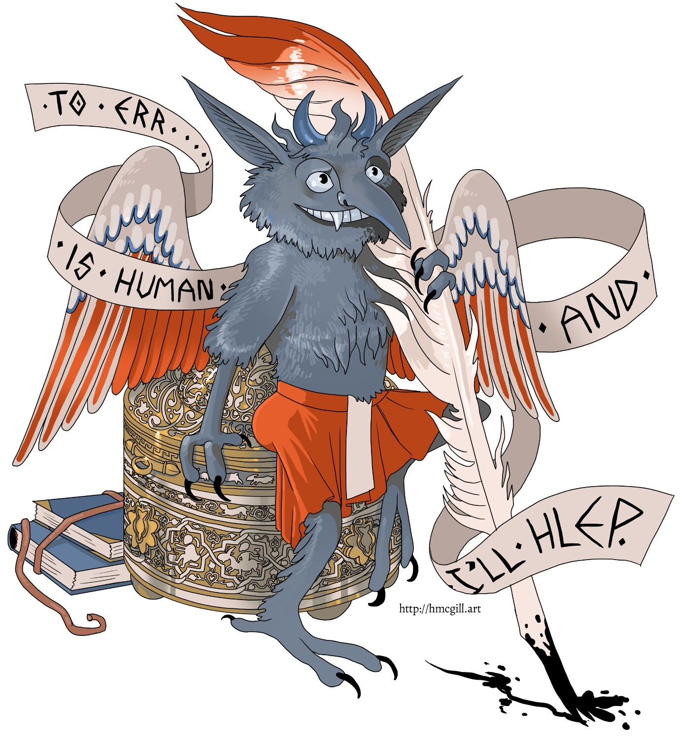 """Digital artwork of Titivillus, a blue demon small enough to perch on an inkwell. The inkwell is a fancy brass affair from Iran, decorated in zodiac symbols. Titivillus holds a quill and its tiny books are stacked behind the inkwell. A banner twining around Titivillus bears the message: """"To err is human, and I'll hlep!"""" [sic]"""