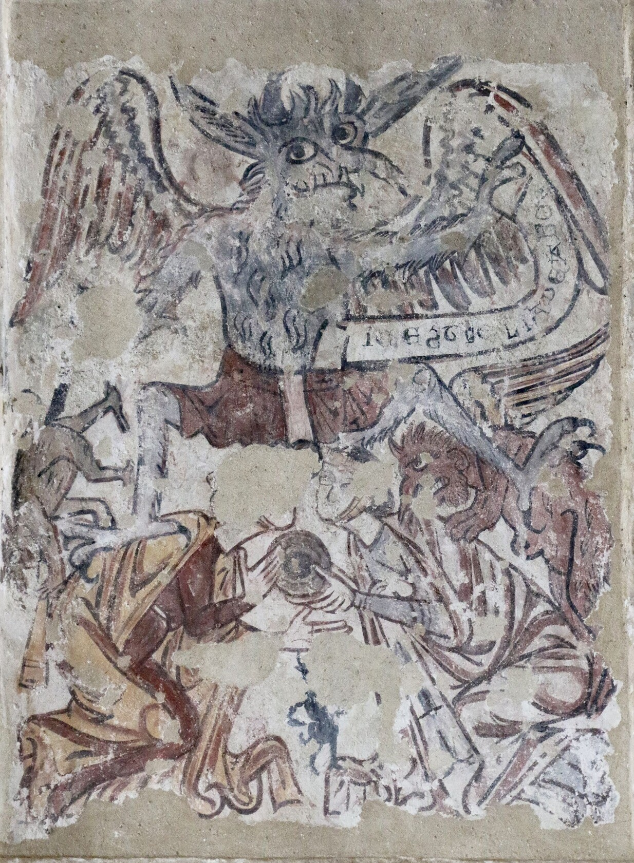 Source inspiration for the digital artwork of Titivillus. Here, he is depicted in a medieval wall painting corroded by time. He has talons, wings, and cool pants. He rules over two lesser demons who have perched on the backs of gossiping women.