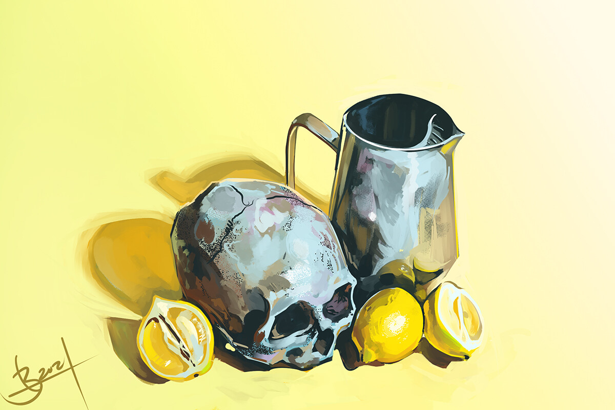 1 hour speedpaint of a still life with a skull and lemons and a pitcher