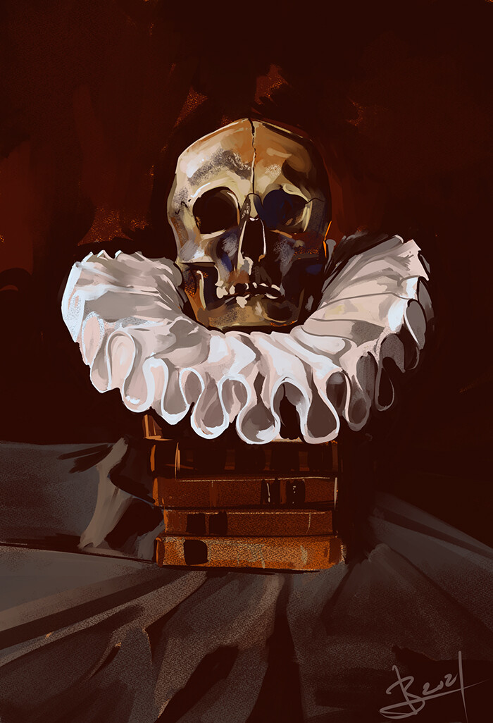 1 hour speedpaint of a still life with a skull with a frilly starched collar on a pile of leatherbound books