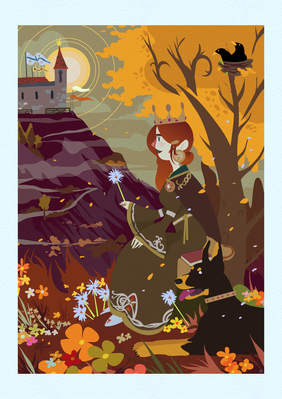 Girl wearing a crown holding a dandylion and has a dog with her sitting down. There is a tree behind her with two blackbirds. Also in the background is a castle. She is surrounded by flowers.