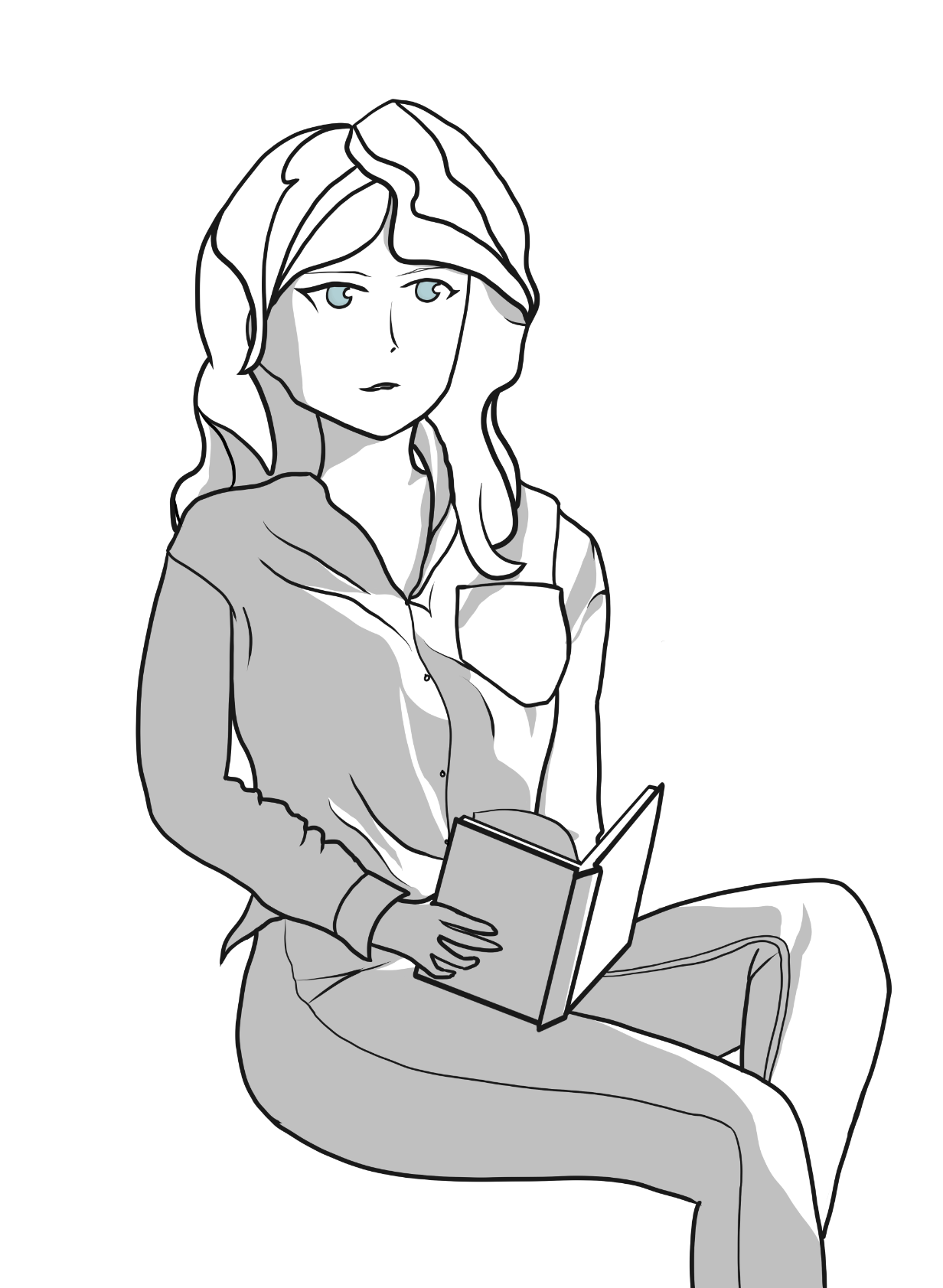 A digital drawing of Diana Cavendish from Little Witch Academia seated holding a book.