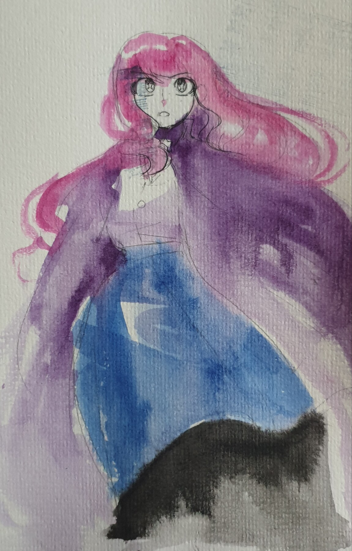 Watercolour sketch of a woman in a billowing skirt and cape