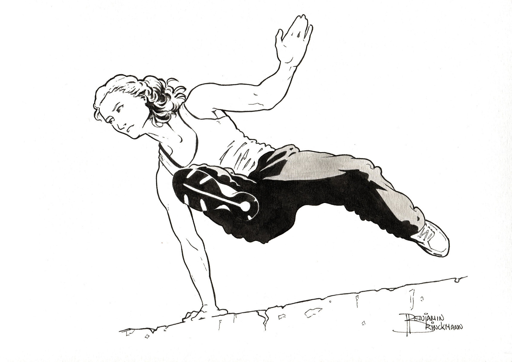 A young woman in baggy pants, wearing sport shoes, vaults over a weathered concrete obstacle.