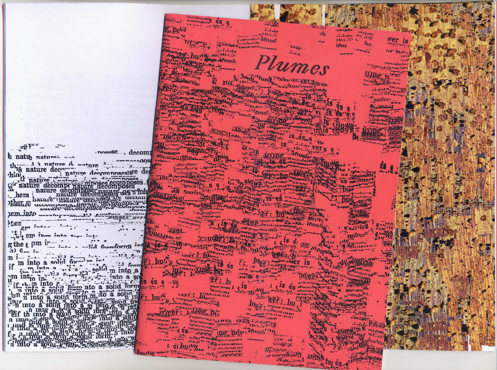 """Picture of a book/zine showing the cover (red paper with title """"Plumes"""") and two pages: on the left black/white concrete poem, on the right photo collage of microscopic particles in rusty colors."""